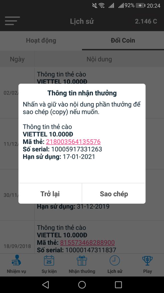 App tozaco kiếm tiền, kiếm thẻ cào trên android và ios 2020