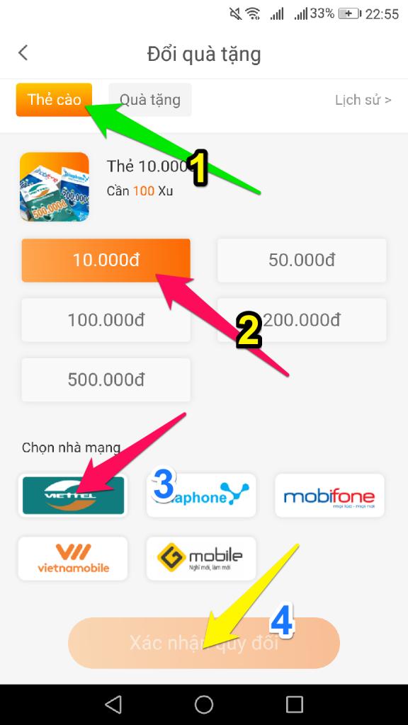 Đổi thẻ cào điện thoại miễn phí trên ứng dụng từ việc kiếm xu