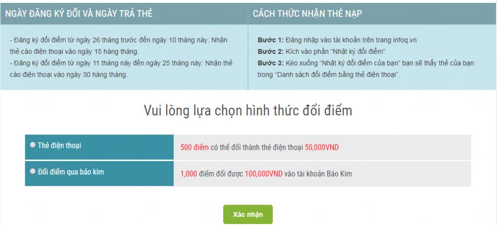 Đổi thẻ cào điện thoại hoặc tiền mặt qua ví bảo kim từ khảo sát kiếm tiền infoq Việt Nam