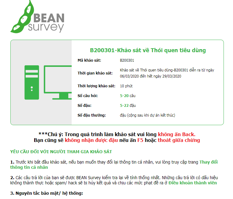 Làm khảo sát kiếm tiền Bean survey kiếm thẻ cào điện thoại BeanSurvey có lừa đảo không