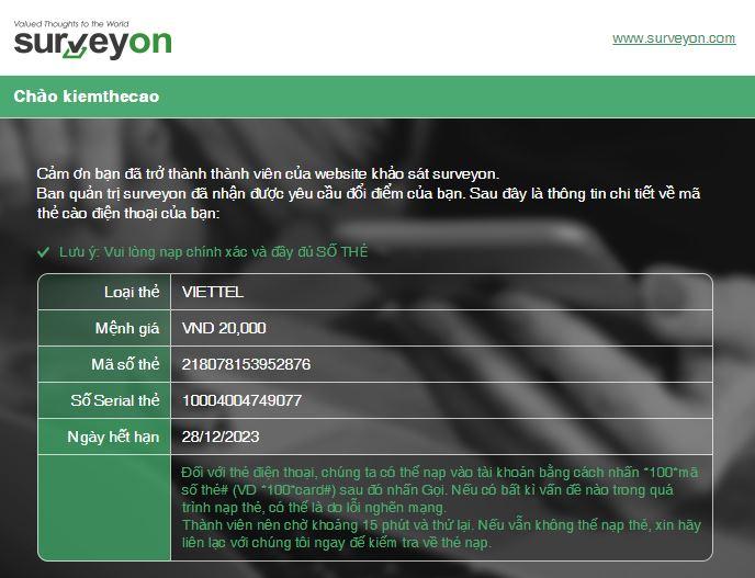 Surveyon Việt Nam khảo sát kiếm tiền trên điện thoại và kiếm thẻ cào miễn phí có rút tiền qua paypal