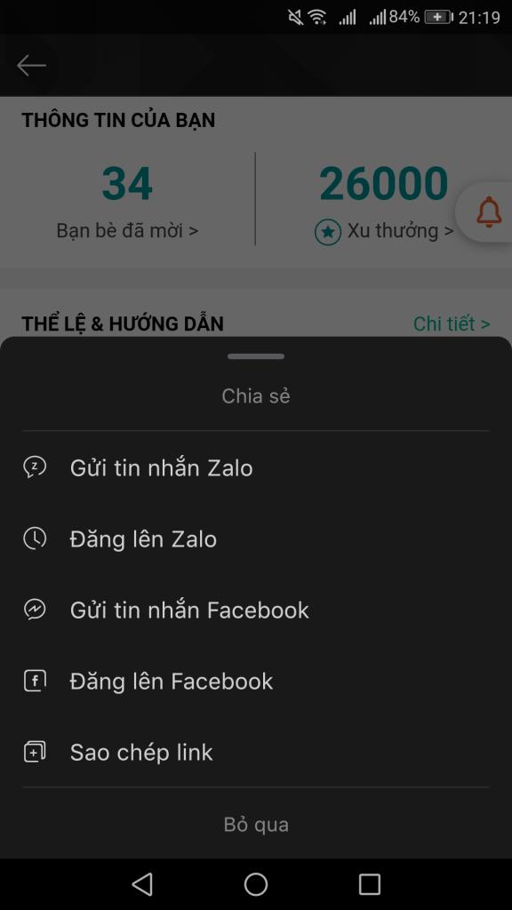 Mời bạn bè tham gia nhận ngay 2K trên android và 4K trên ios