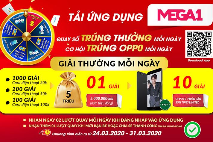 Kiếm thẻ cào 50K miễn phí & điện thoại oppo từ Mega1