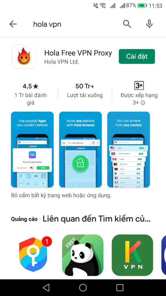 Hola VPN đổi IP kiếm tiền cho điện thoại Android và Iphone IOS