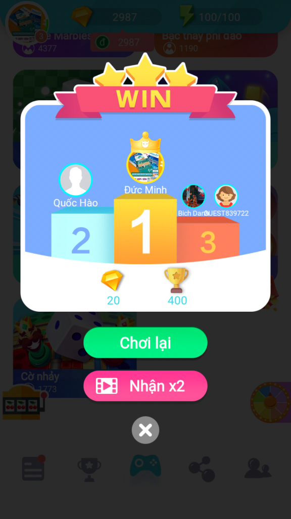 Nhận nhiều kim cương khi chơi game đạt top 1
