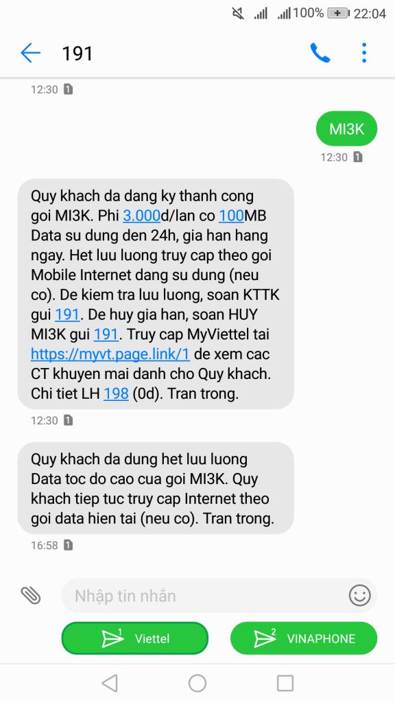 Gói cước 4G Viettel MI3K 1 ngày có ngay 100MB với 3K