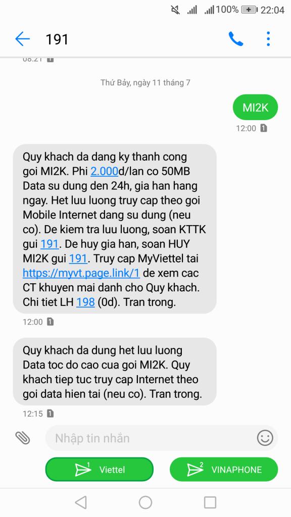 Gói cước 4G Viettel MI2K 1 ngày có ngay 50MB với 2K