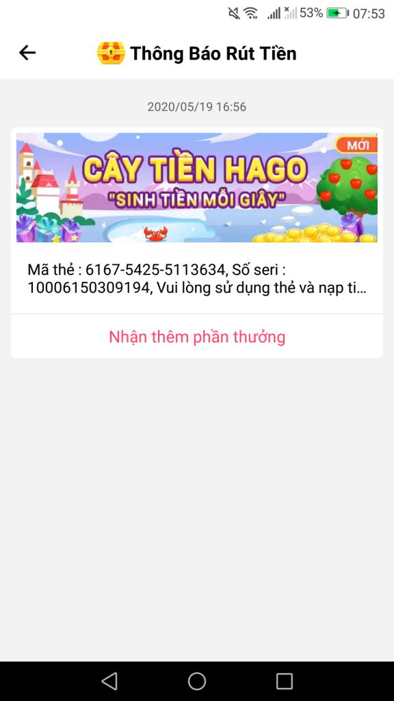 Hago ứng dụng đổi thẻ cào điện thoại miễn phí