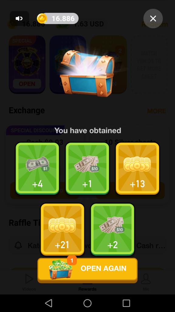 ClipClaps app mở rương nhận thẻ quà tặng