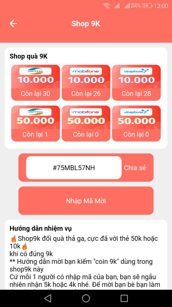 Đổi thẻ cào điện thoại trên ShopSave