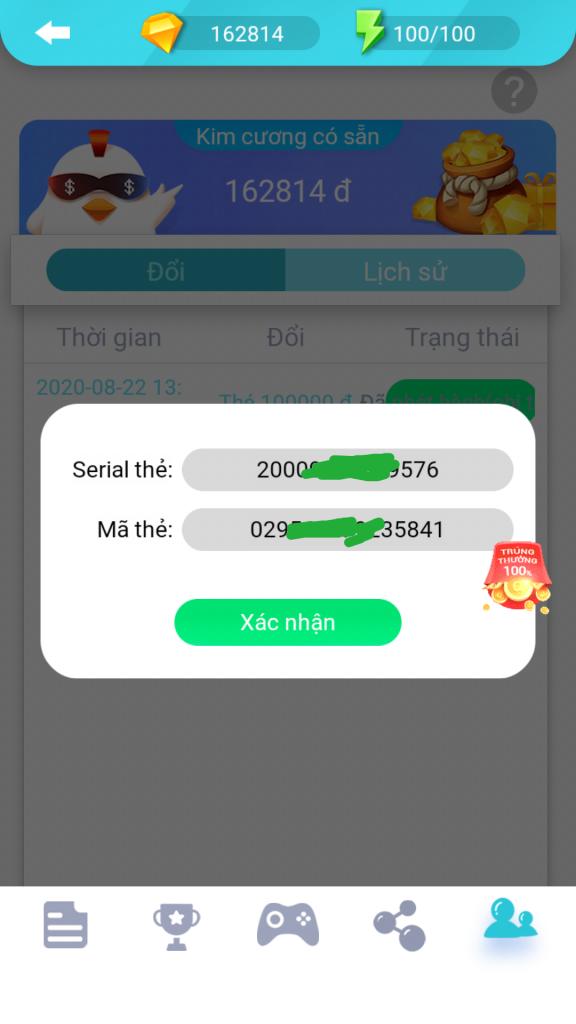 Cách đổi thẻ cào trên ứng dụng Easy Coin và Wecare