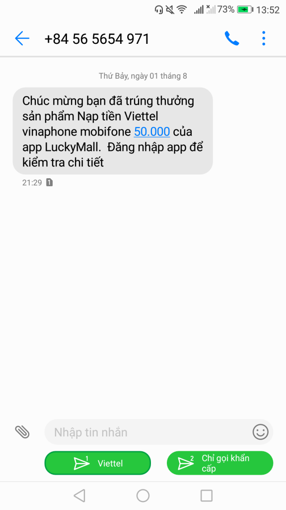 Thông báo trúng thẻ cào điện thoại 50K miễn phí