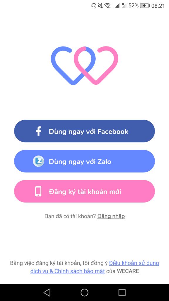 Đăng nhập bằng tài khoản facebook hoặc zalo