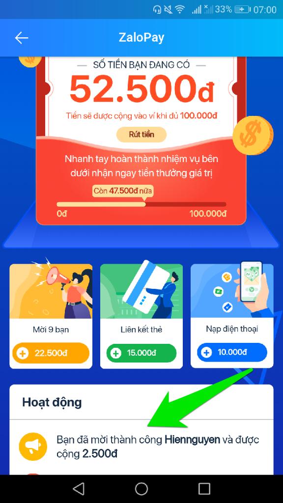 Nhận 100K miễn phí từ ZaloPay kiếm tiền online