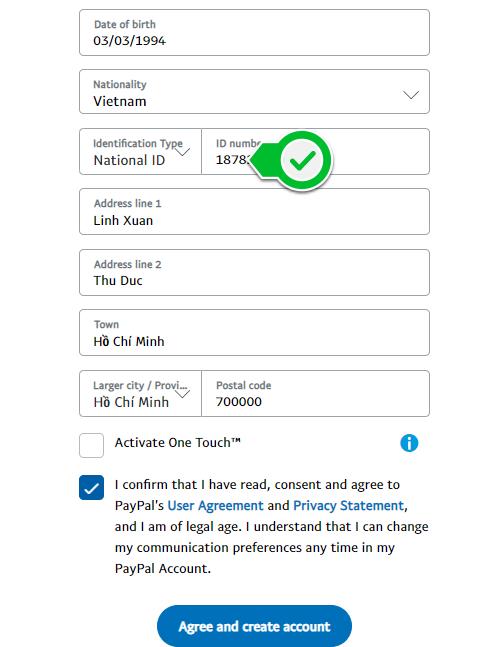 Điền thông tin địa chỉ, zipcode để đăng ký tài khoản