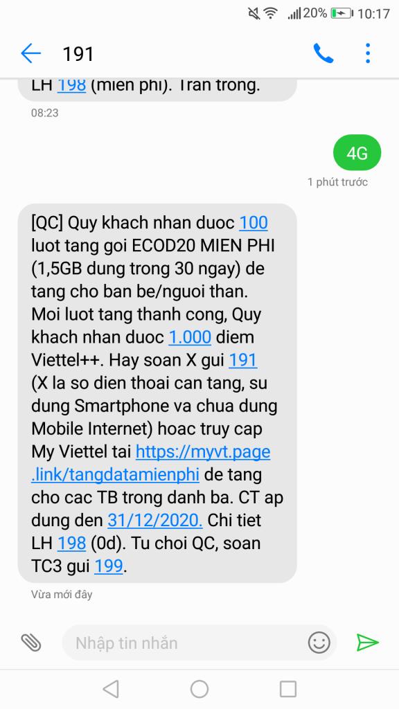 Nhận 100 lượt tặng 1.5GB thời hạn 30 ngày Data 4G Viettel miễn phí