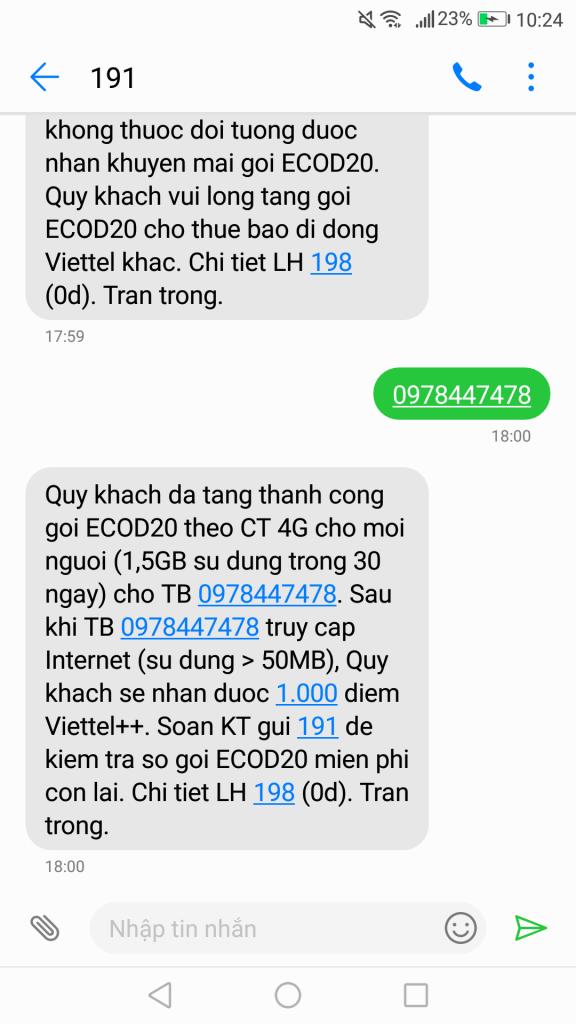 Hướng dẫn nhận 100 lượt tặng 1.5GB thời hạn 30 ngày Data 4G Viettel miễn phí