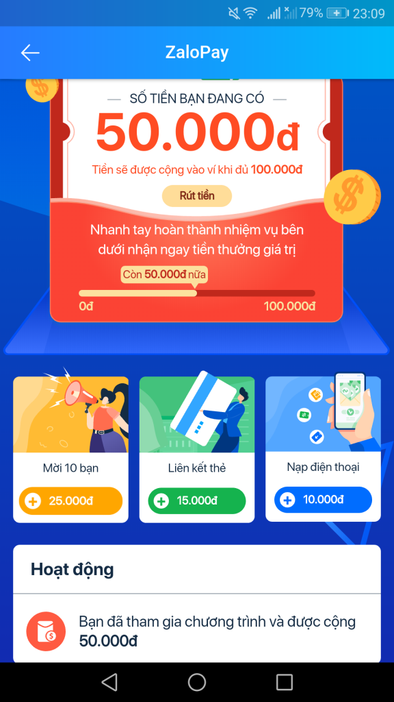 ZaloPay kiếm tiền nhận 100K rút tiền mặt miễn phí