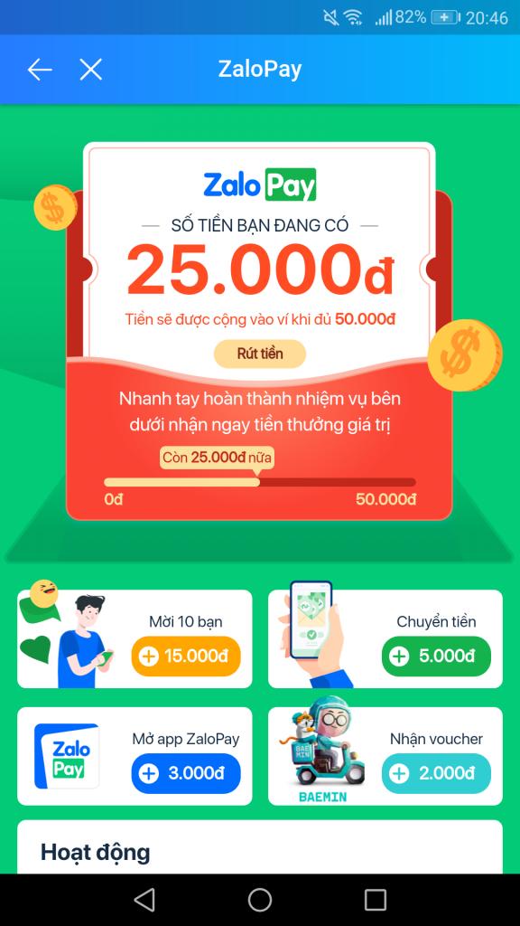 Chung sức giật quà ZaloPay 50K tiền mặt miễn phí