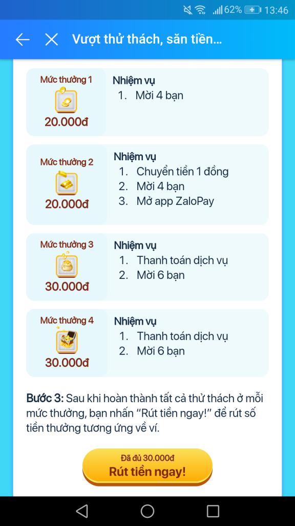 ZaloPay vượt thử thách săn tiền mặt nhận 100K miễn phí