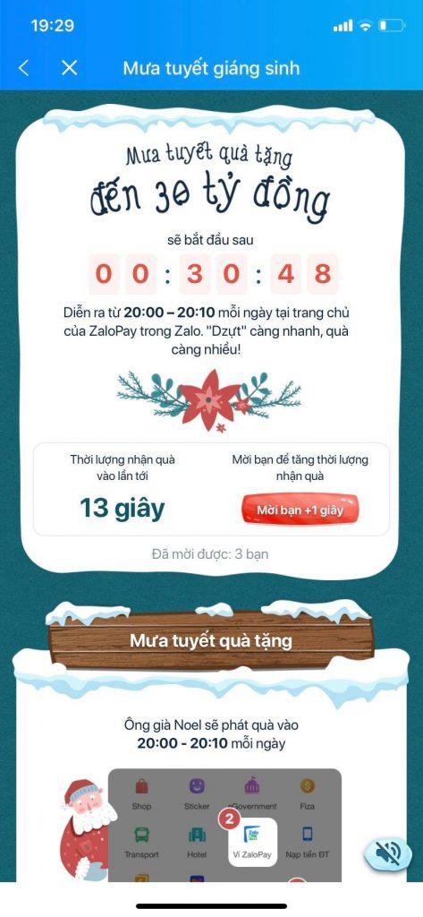 Nhận quà giáng sinh từ ZaloPay kiếm tiền online lên tới 30 tỷ đồng
