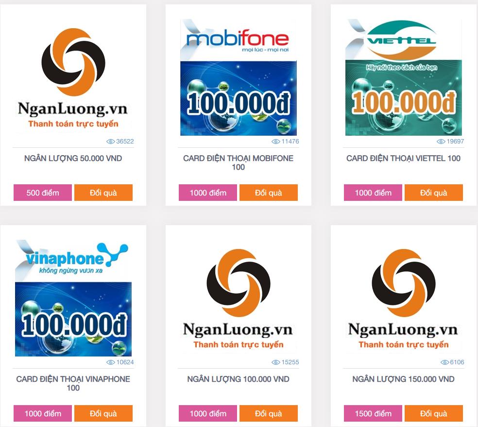 Vinaresearch đổi thưởng thẻ cào điện thoại hoặc rút tiền mặt