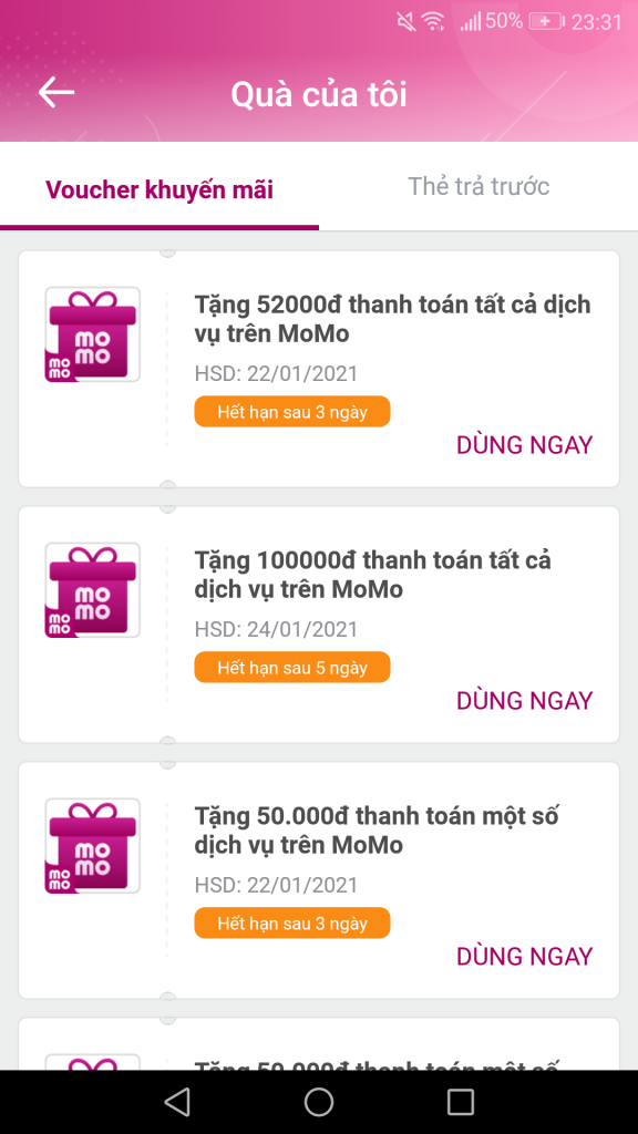 Momo nhận 500K và 100K