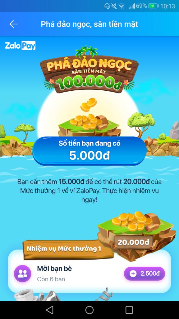 Nhận thưởng từ ưu đãi Phá đảo ZaloPay kiếm thẻ cào tiền mặt 100K miễn phí