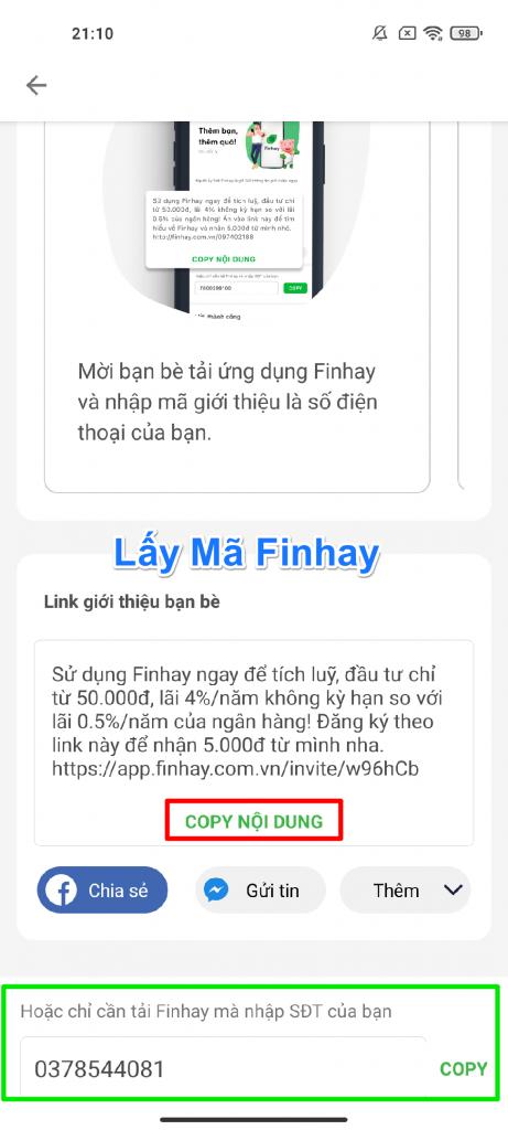 Lấy và nhập mã giới thiệu Finhay ở đâu, số điện thoại giới thiệu finhay