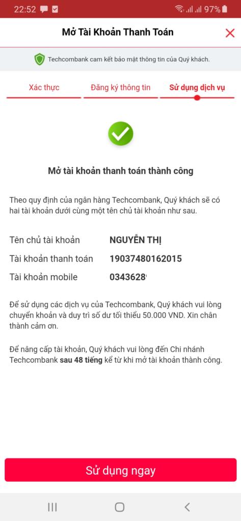 Techcombank kiếm tiền đăng ký tài khoản thành công