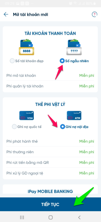 Chọn loại thẻ để mở số tài khoản
